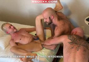 Triple Tag Team Fisting 2: Chris Wydeman & HungerFF Fist Fuck Sherman Maus