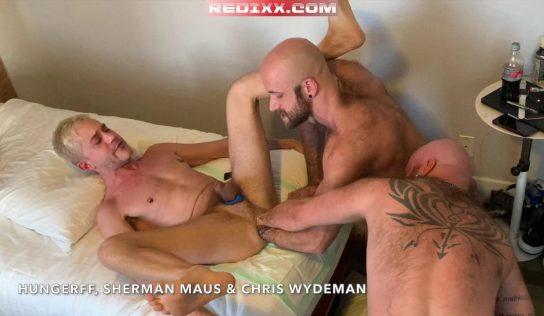 Triple Tag Team Fisting 2: Chris Wydeman & HungerFF Fist Fuck Sherman Maus