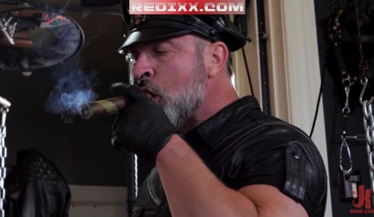 Leather Daddy Kristofer Weston Smokes Cigar While Torturing Scott Ryder